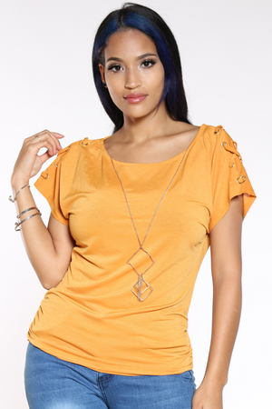 Women's Criss Cross Shoulder Top - Mustard-VIM.COM
