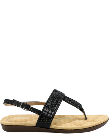 Girls Rhinestone Soft Insole T-Strap Sandals - Black-VIM.COM