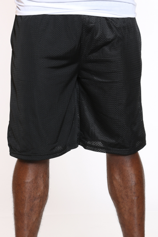 Men's Solid Heavy Mesh Short - Black-VIM.COM