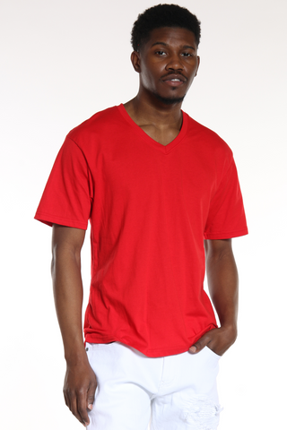 Men's Classic Solid V-Neck Tee - Red-VIM.COM