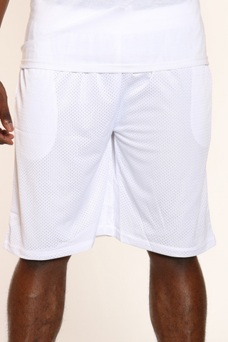 Men's Solid Heavy Mesh Short - White-VIM.COM