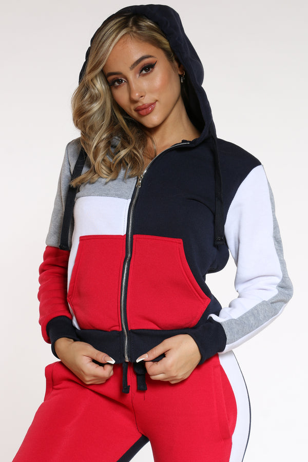 Women's Color Block Full Zip Hoodie - Red Black White-VIM.COM