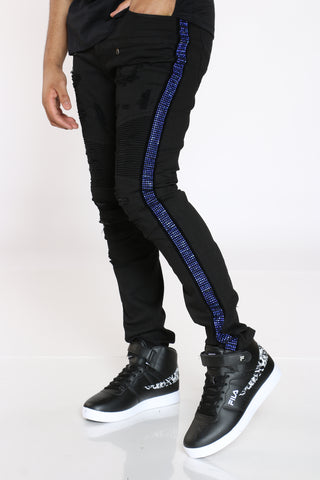 Men's Ripped Moto Rhinestone Trim Jean - Black-VIM.COM