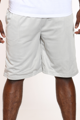 Men's Solid Heavy Mesh Short - Silver-VIM.COM