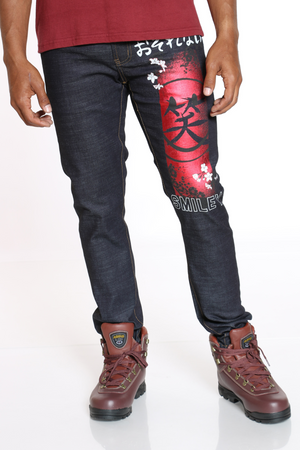 Men's Smiley Foil Embroidery Jean - Black-VIM.COM
