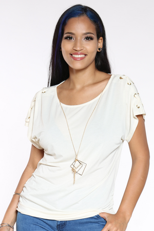 Women's Criss Cross Shoulder Top - White-VIM.COM