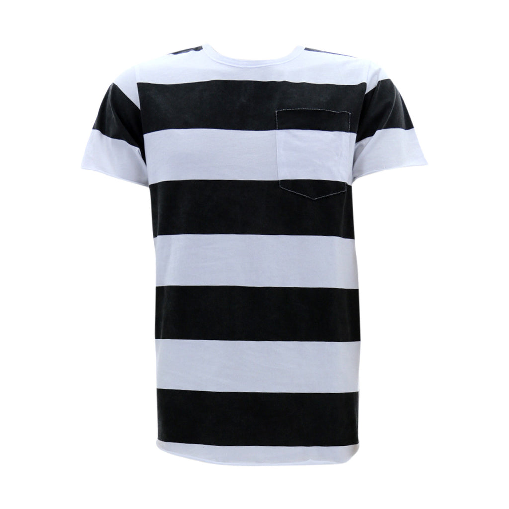 VIM Men'S Charcoal Stripe Crew Neck Scallop Bottom T-Shirt - Vim.com