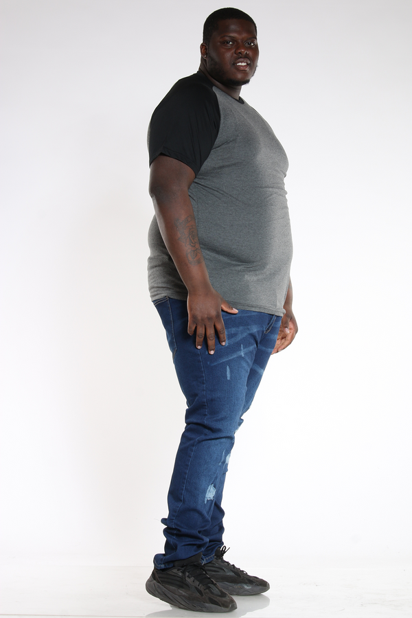 Men's Plus Size Big & Tall Ripped Slim Fit Jean - Dark Blue-VIM.COM