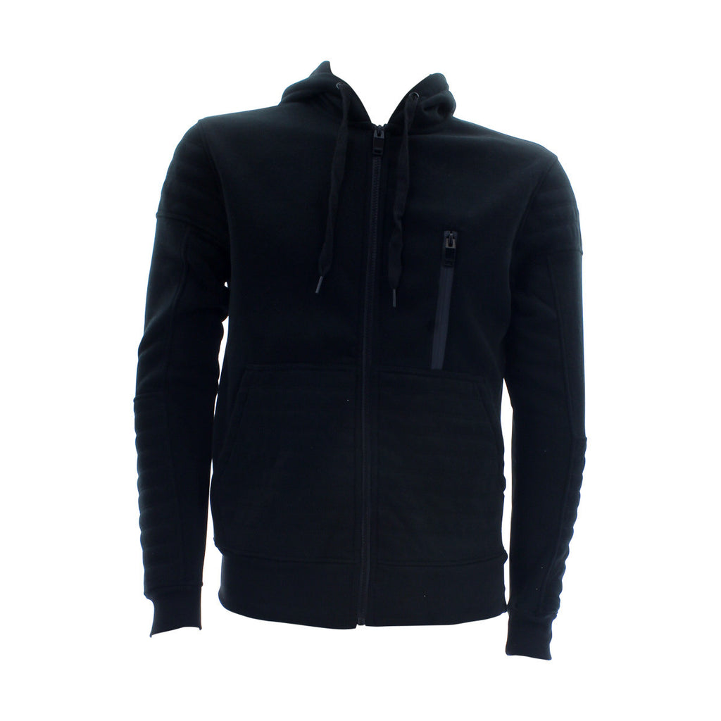 Switch Remarkable Men'S Quilted Fleece Moto Hoodie Sweatshirt - Black - Vim.com