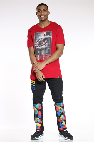 Men's Drip Colorful Skinny Jean - Black-VIM.COM