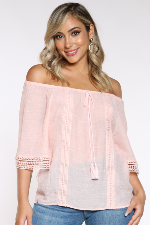 Women's Crochet Trim Top - Blush-VIM.COM