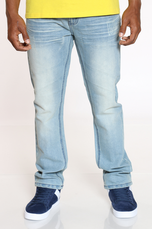 Men's Belted Embroidered Pocket Jean - Ice Blue-VIM.COM