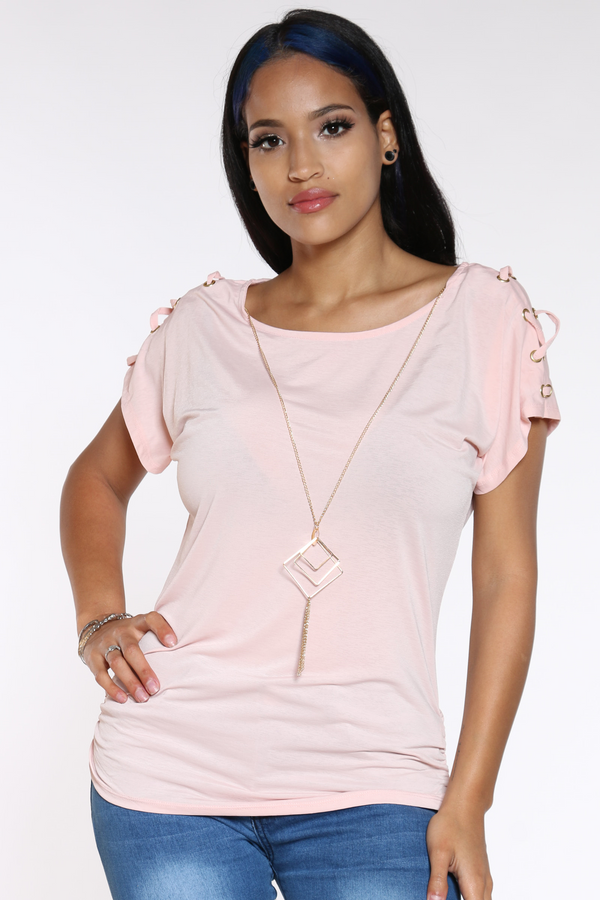 Women's Criss Cross Shoulder Top - Mauve-VIM.COM