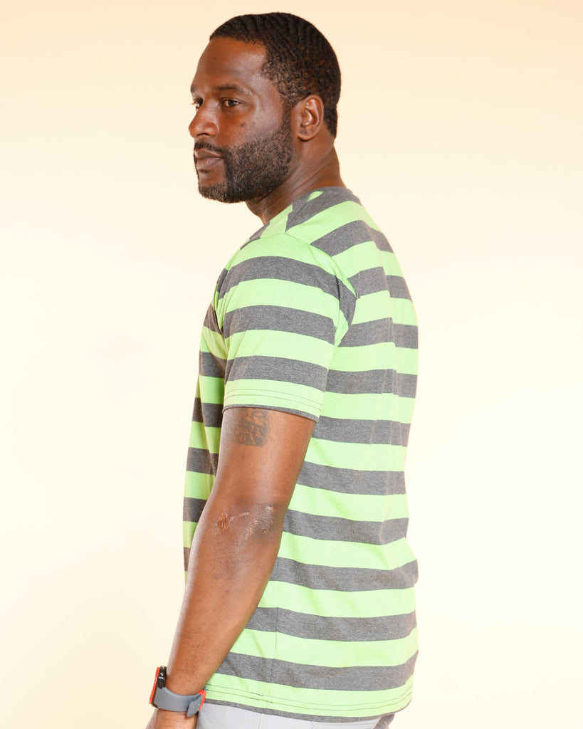 VIM Striped V Neck Tee - Green - Vim.com