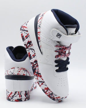 FILA-F 13 Mp Marble Sneaker (Pre School) - White Navy Red-VIM.COM