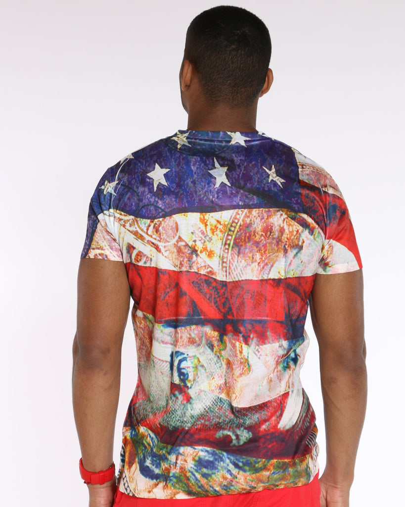 VIM American Flag & Benjamin Franklin Printed Tee - Red White Blue - Vim.com