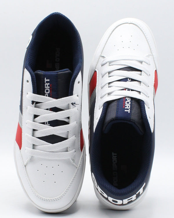 POLO RALPH LAUREN Belden Sneaker (Grade School) - White Navy Red - Vim.com
