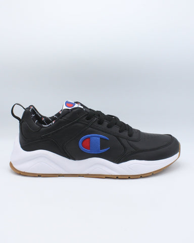 CHAMPION-Men's 93 Eighteen Big C Leather Sneaker - Black Blue-VIM.COM