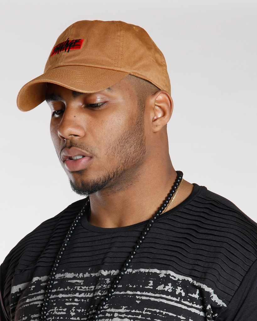 VIM Savage Box Logo Plain Dad Hat - Brown - Vim.com