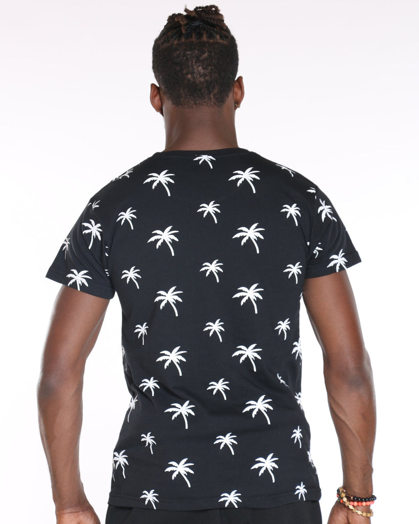 VIM Palm Trees Printed Tee - Black White - Vim.com