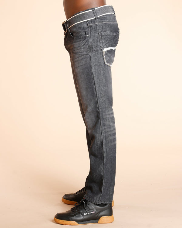 VIM Belted Embroidery Pocket Jeans - Black - Vim.com