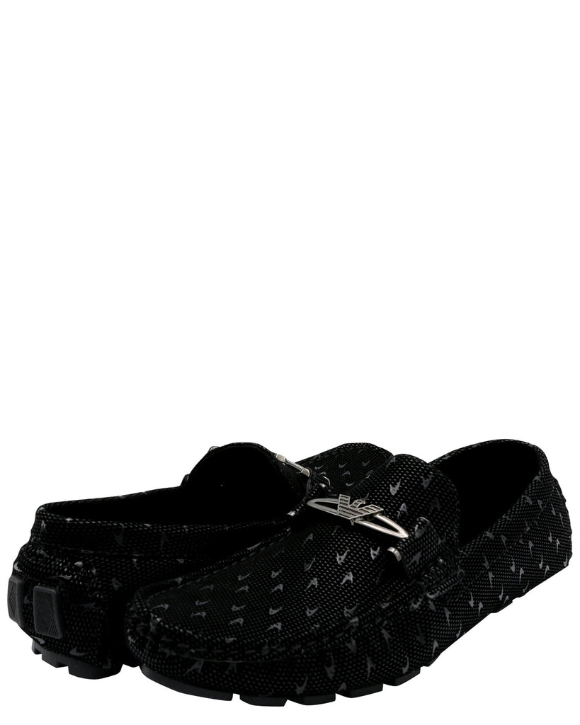 Brixton Men'S Driving Moc Buckle Print Shoe - Black - Vim.com