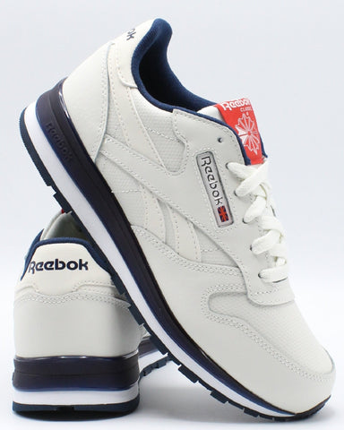 REEBOK-Classic Leather Mu Sneaker (Grade School) - Chalk Navy Red-VIM.COM