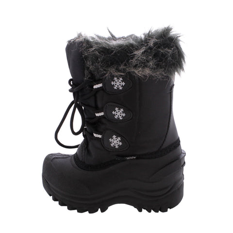 Adorababy - Girl's Water Proof Lace Snow Boots (Toddler/Little Kid/Big Kid) - Black
