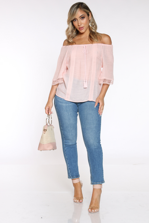 Women's Crochet Trim Top - Blush
