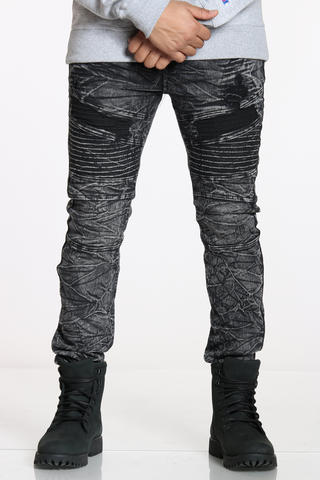 Men's Timothy Acid Moto & Ripped Jean - Black-VIM.COM