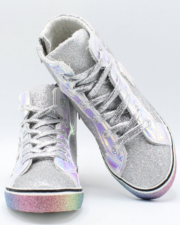 VIM VIXEN Girls Glitter Star Hi Top Sneaker (Pre School And Grade School) - Silver - Vim.com