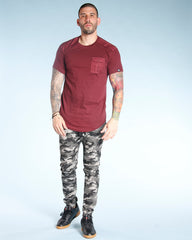 VIM Flap Pocket Front Twill Trim Tee - Burgundy - Vim.com