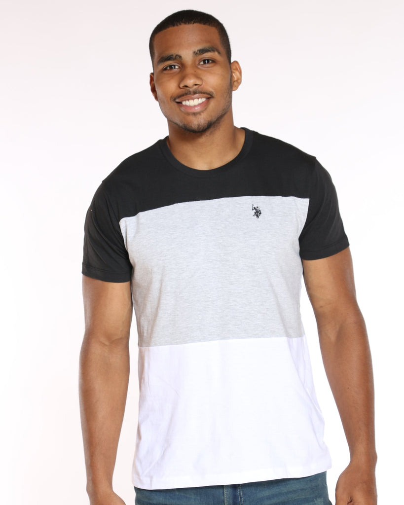 U.S. POLO ASSN. U.S. Polo Assn. Color Block Crew Neck Tee - Black - Vim.com