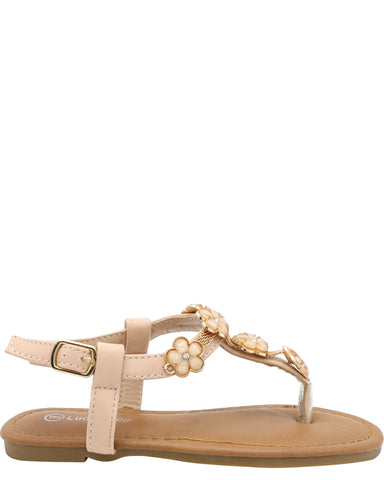 VIM Girl'S Flower Open Toe T-Sandals - Black Nude White - Vim.com