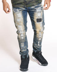 VIM Heavy Rips & Patches Skinny Fit Jeans - Oil Acid - Vim.com