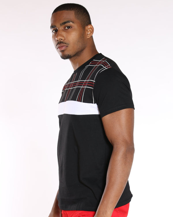 VIM Conner Plaid Color Block Tee - Black - Vim.com