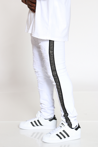 Men's Rhinestone Moto Ripped Jean - White Black-VIM.COM