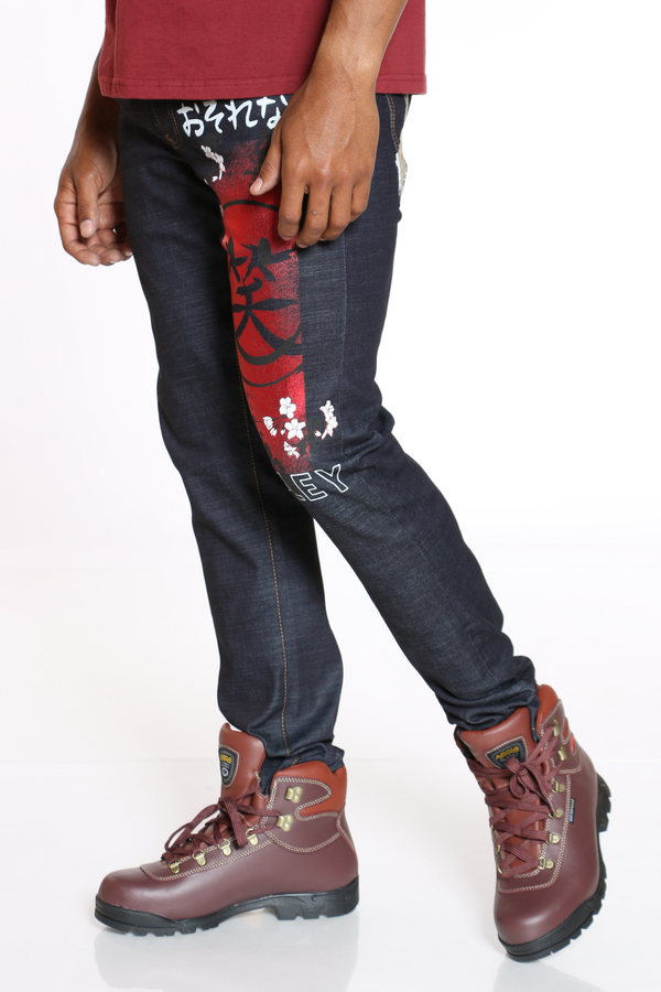Men's Smiley Foil Embroidery Jean - Black