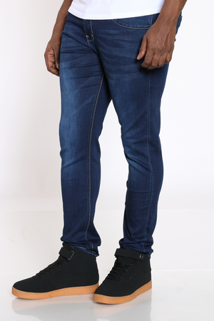Men's Knit Denim Embroidered Pocket Jean - Dark Indigo