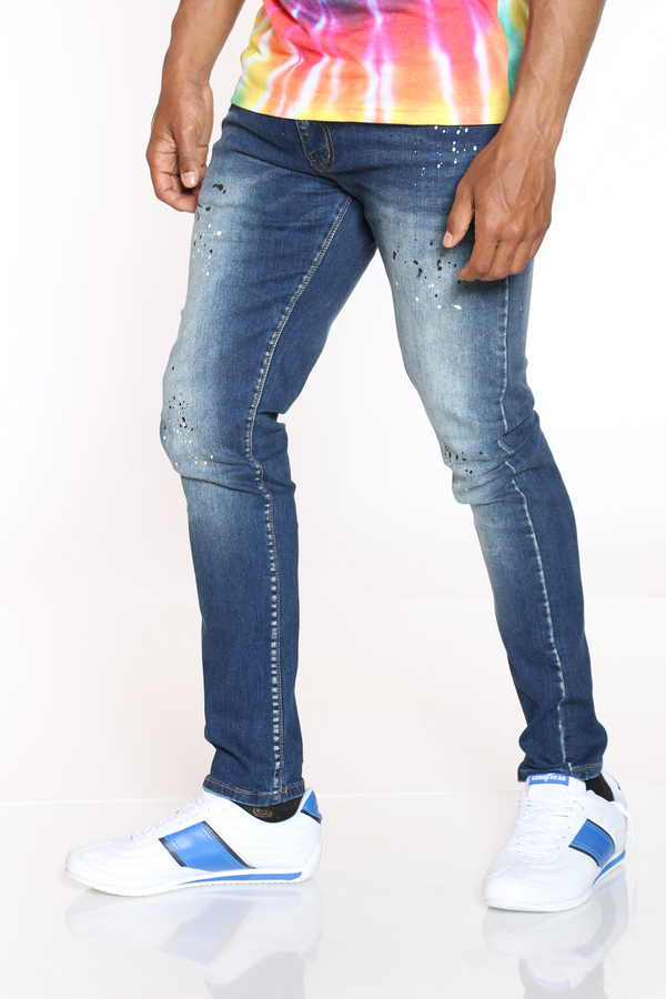 Men's Blasting & Paint Splatter Jean - Blue