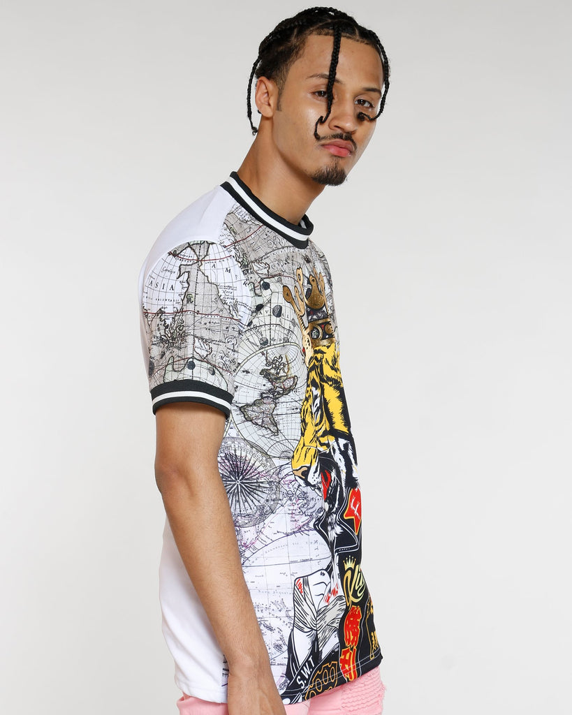 VIM Tiger King Map Print Tricot Tee - White - Vim.com