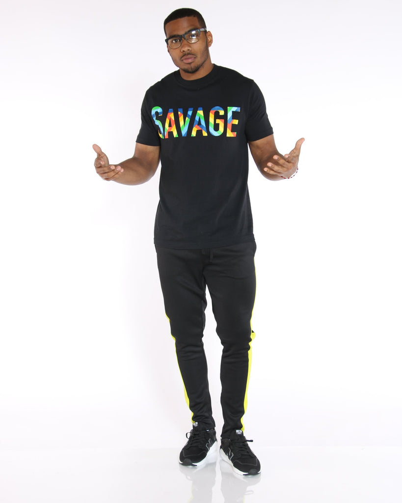 VIM Rainbow Colored Savage Print Tee - Black - Vim.com