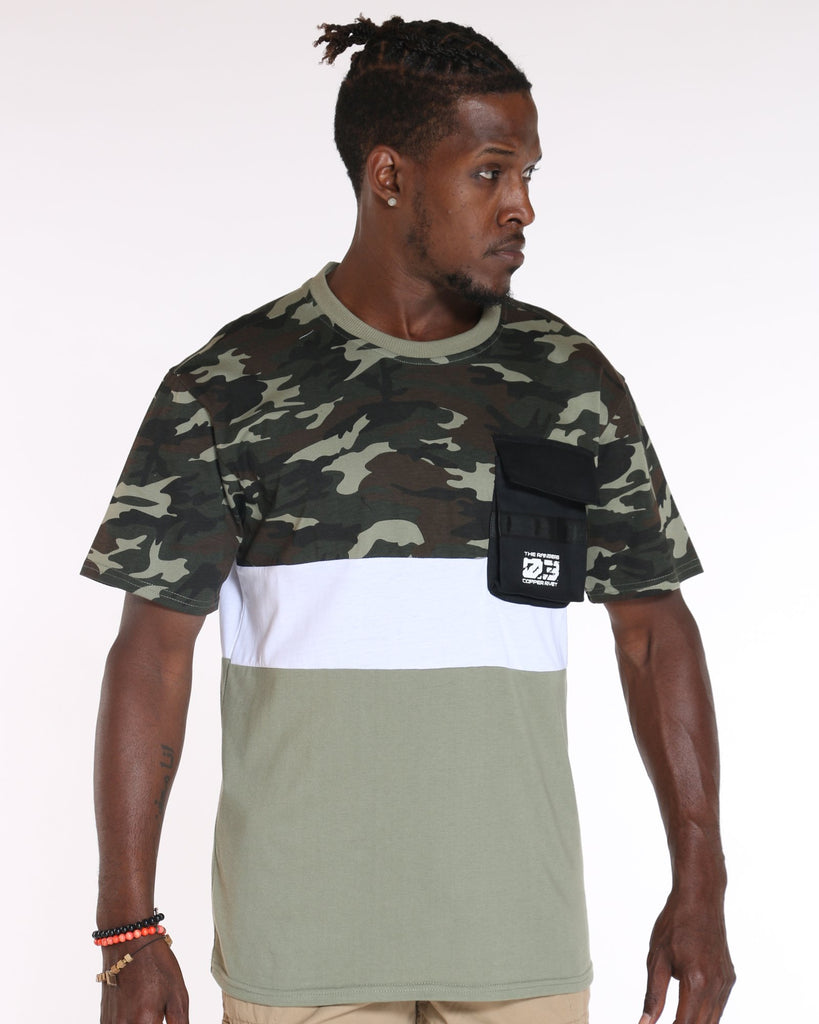 VIM Cargo Pocket Camo Color Block Tee - Green - Vim.com