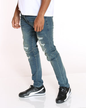 VIM Ripped Skinny Fit Jean - Medium Blue - Vim.com
