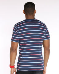 VIM Striped V Neck Tee - Dress Blue - Vim.com