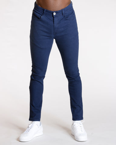 Men'S Five Pocket Twill Skinny Pants - Navy