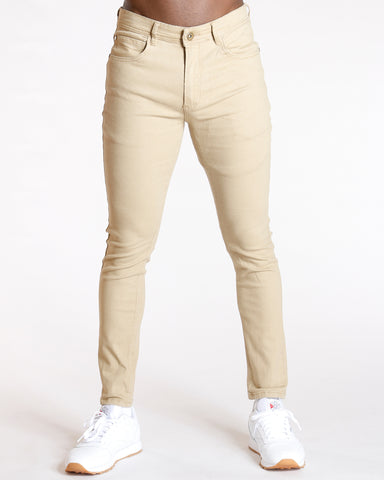 Men'S Five Pocket Twill Skinny Pants - Khaki