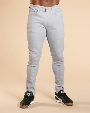 Men'S Five Pocket Twill Skinny Pants - Grey