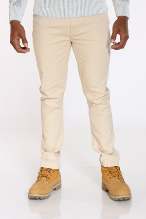 Men's Embroided Pocket Bull Denim Jean - Beige-VIM.COM