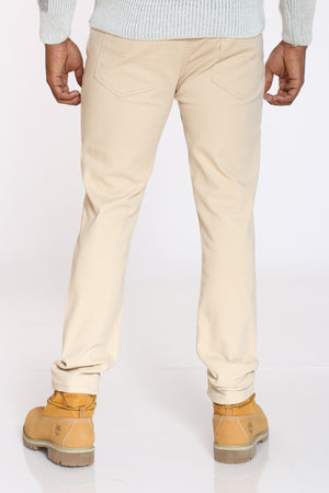 Men's Embroided Pocket Bull Denim Jean - Beige